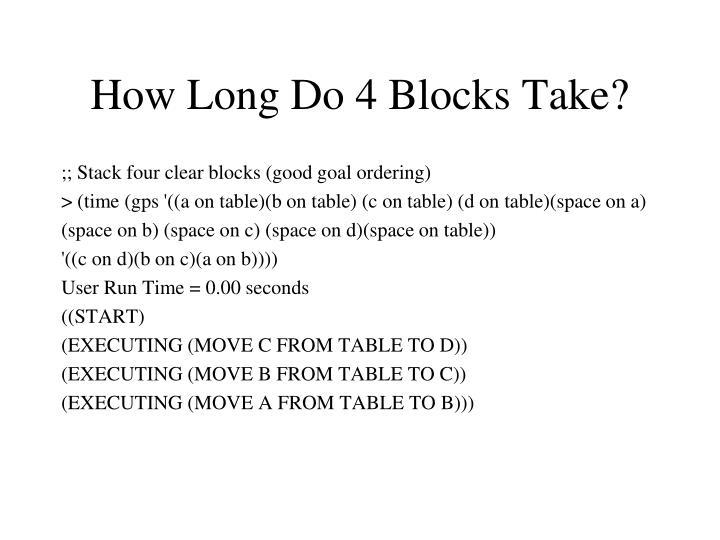 How Long Do 4 Blocks Take?