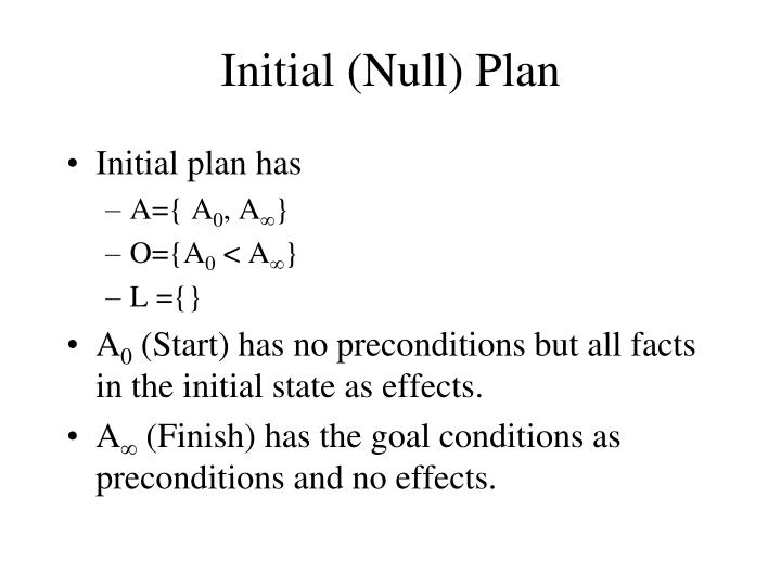 Initial (Null) Plan