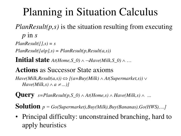 Planning in Situation Calculus