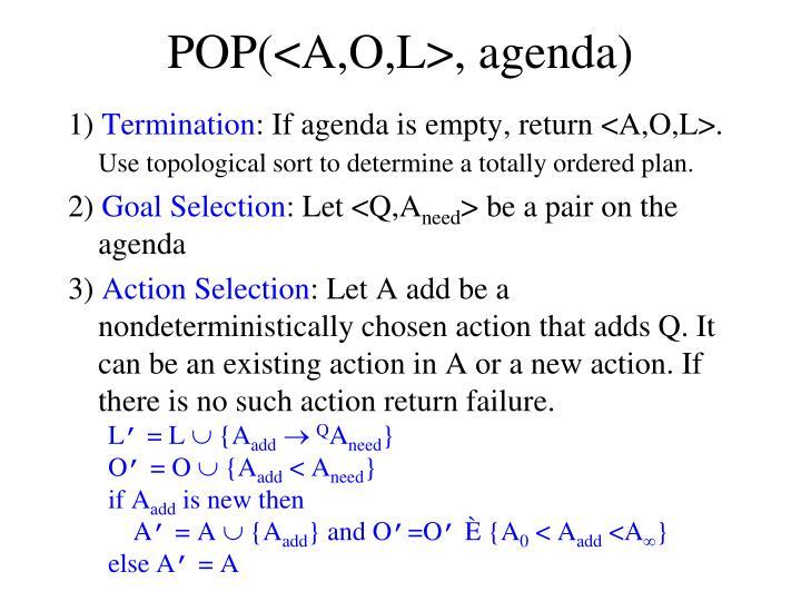 POP(<A,O,L>, agenda)
