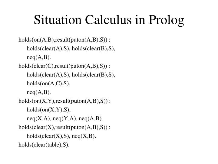 Situation Calculus in Prolog