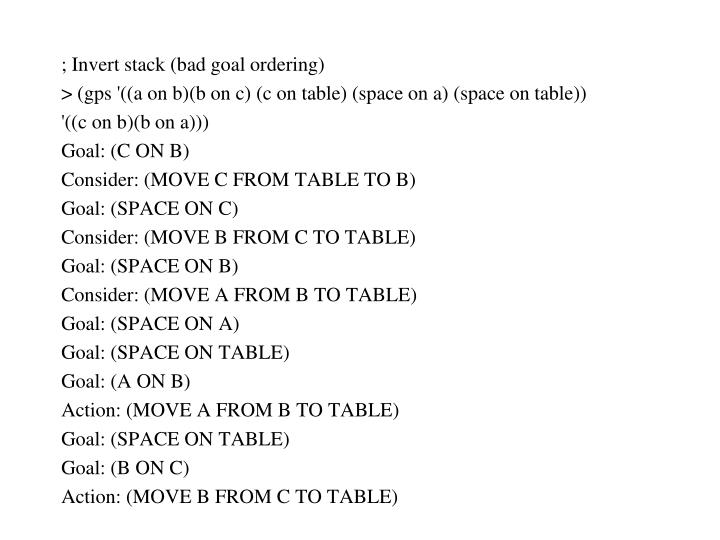 ; Invert stack (bad goal ordering)