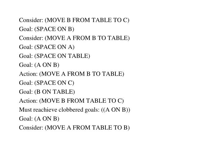 Consider: (MOVE B FROM TABLE TO C)
