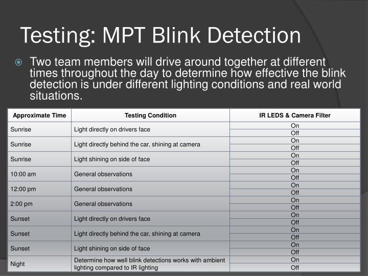 Testing: MPT Blink Detection