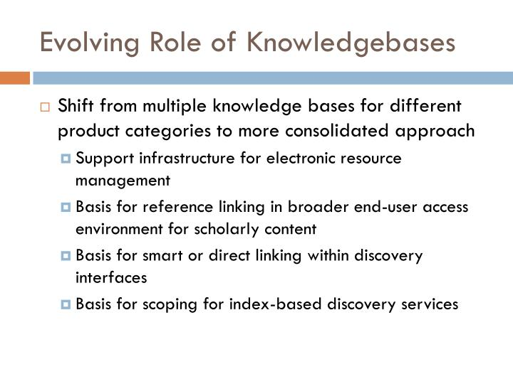 Evolving Role of Knowledgebases