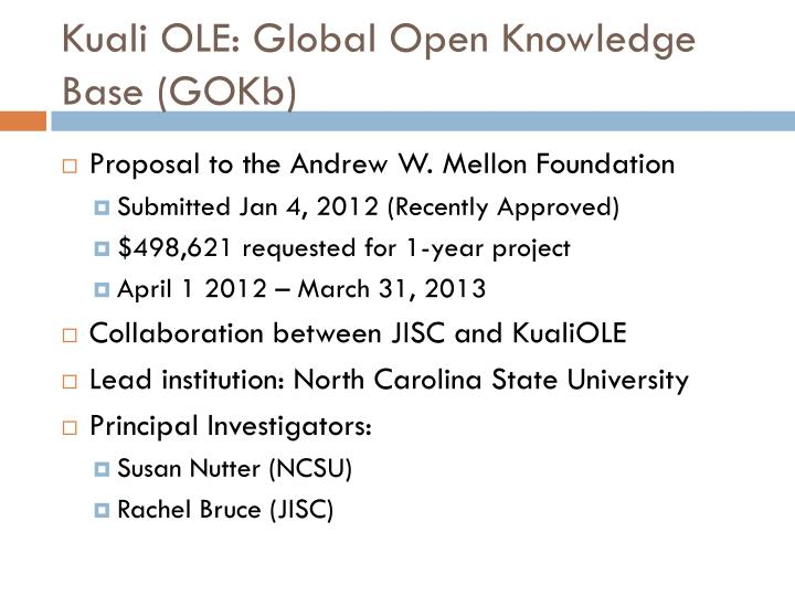 Kuali OLE: Global Open Knowledge