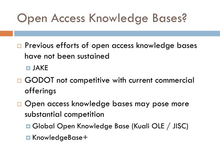 Open Access Knowledge Bases?
