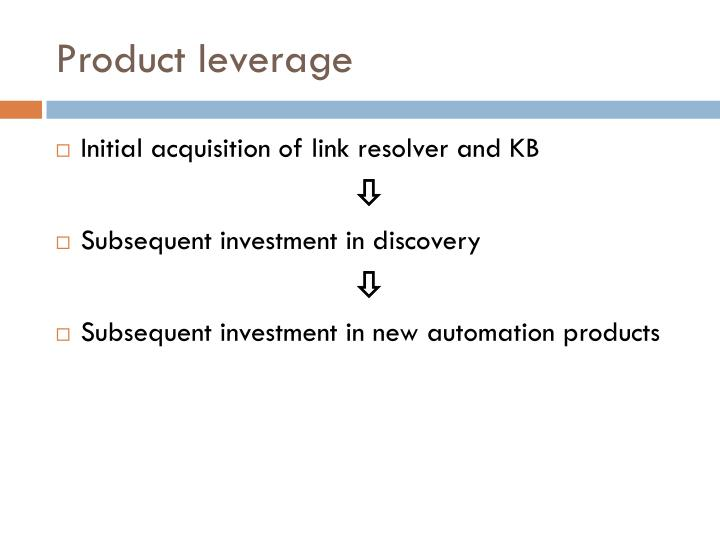 Product leverage