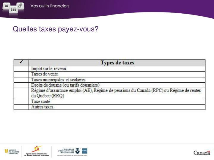 Quelles taxes payez-vous?