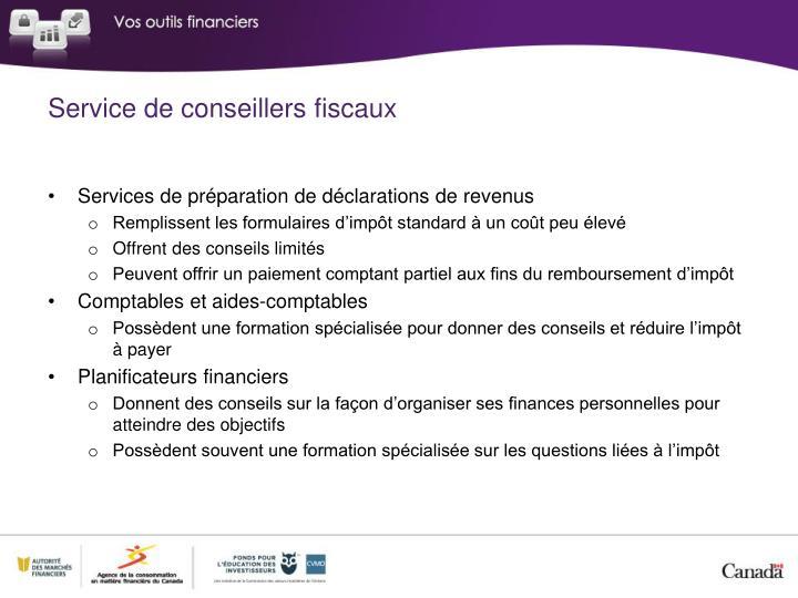 Service de conseillers fiscaux