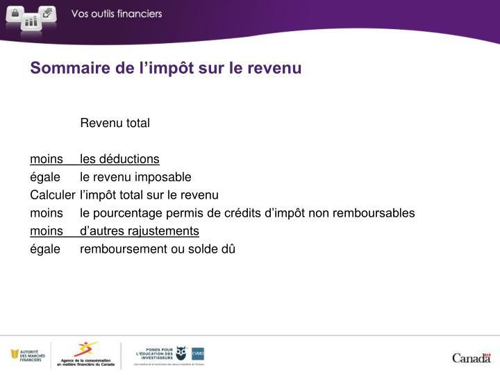 Sommaire de l'impôt sur le revenu
