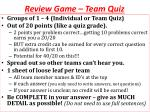 review game team quiz