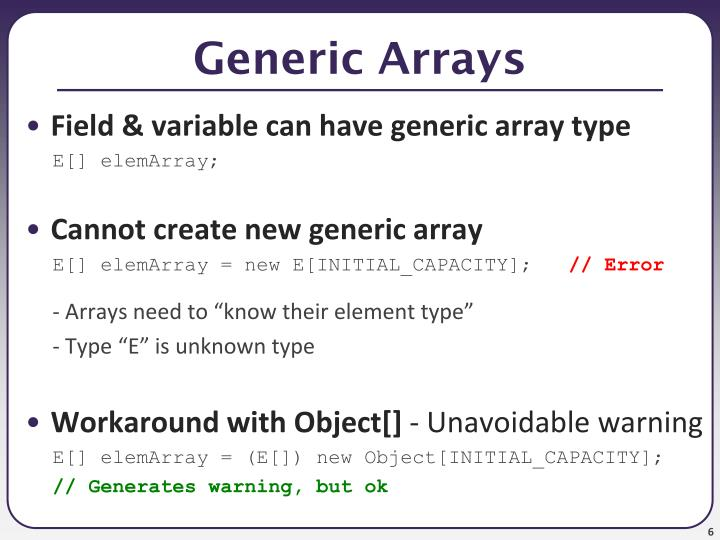 Generic Arrays