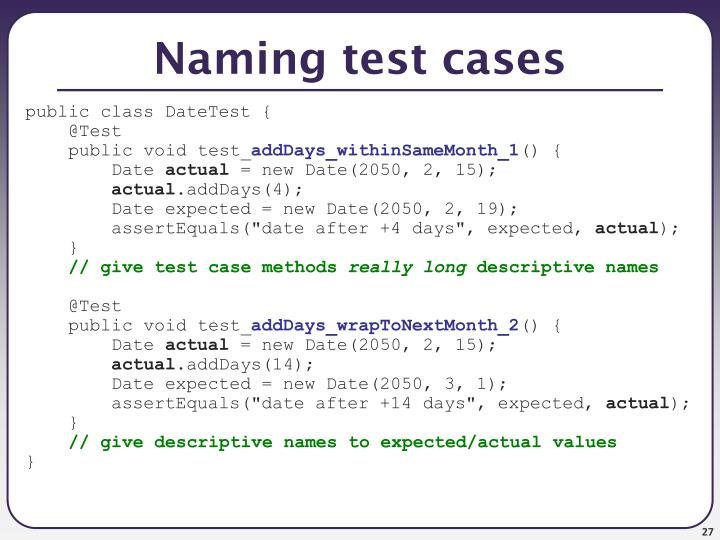 Naming test cases