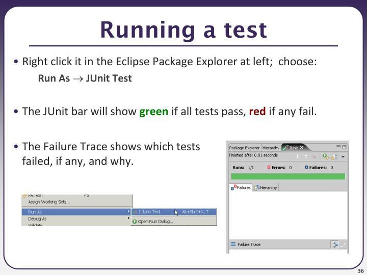 Running a test