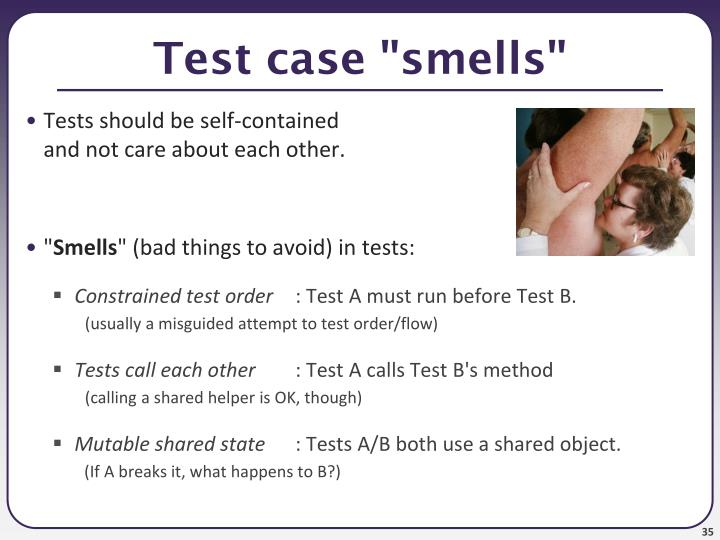 "Test case ""smells"""