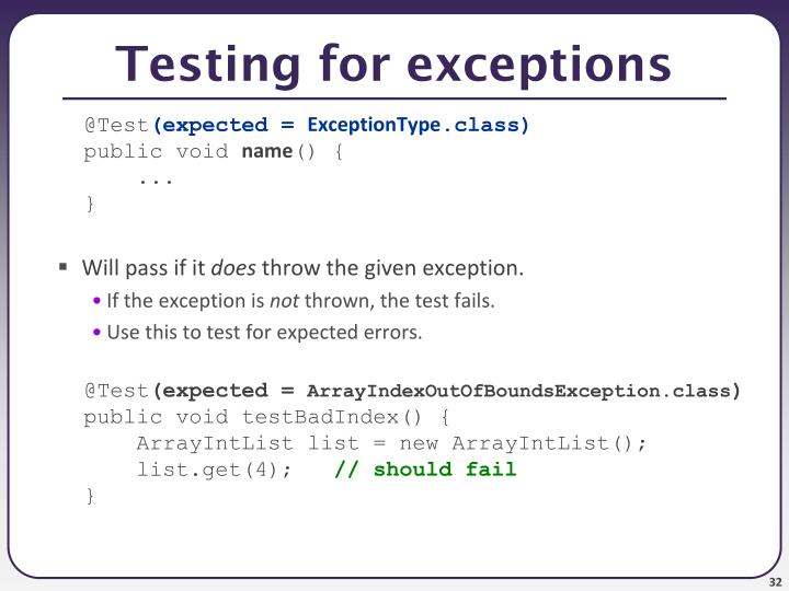 Testing for exceptions