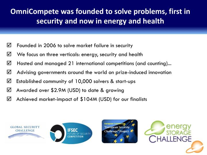 OmniCompete was founded to solve problems, first in security and now in energy and health