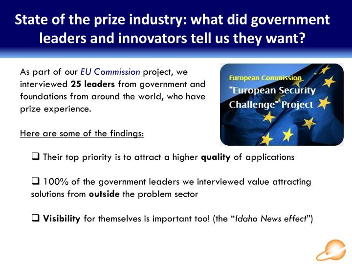 State of the prize industry: what did government leaders and innovators tell us they want?