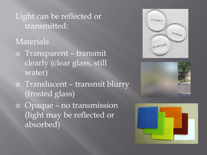 Light can be reflected or transmitted: