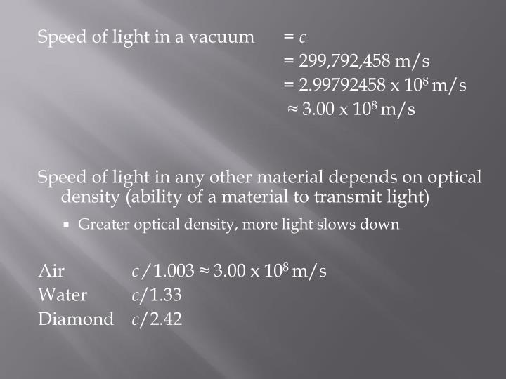Speed of light in a vacuum=