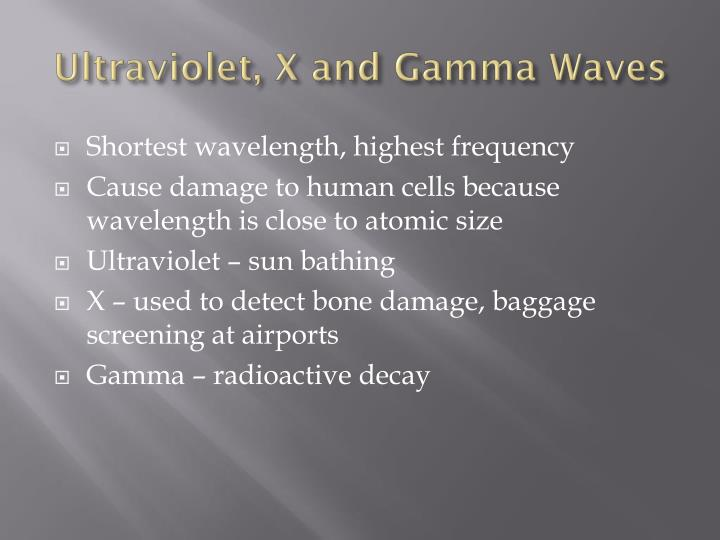 Ultraviolet, X and Gamma Waves