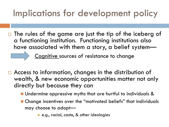 Implications for development policy