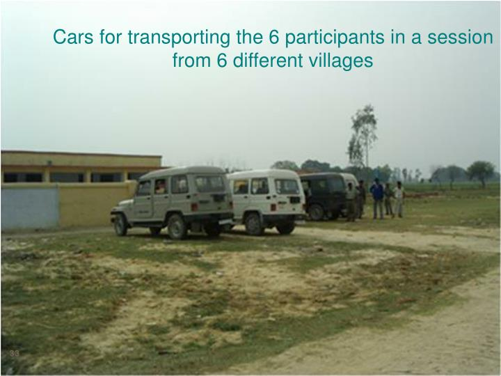 Cars for transporting the 6 participants in a session from 6 different villages