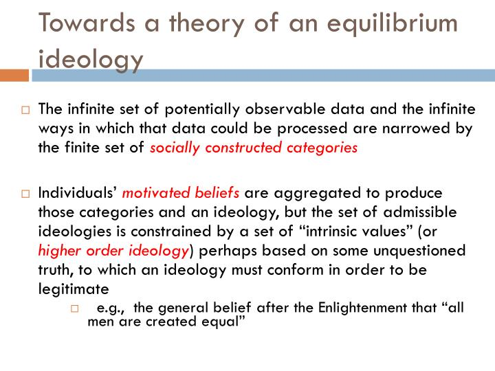 Towards a theory of an equilibrium ideology
