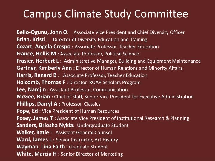 Campus climate study committee