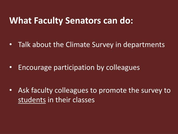What Faculty Senators can do: