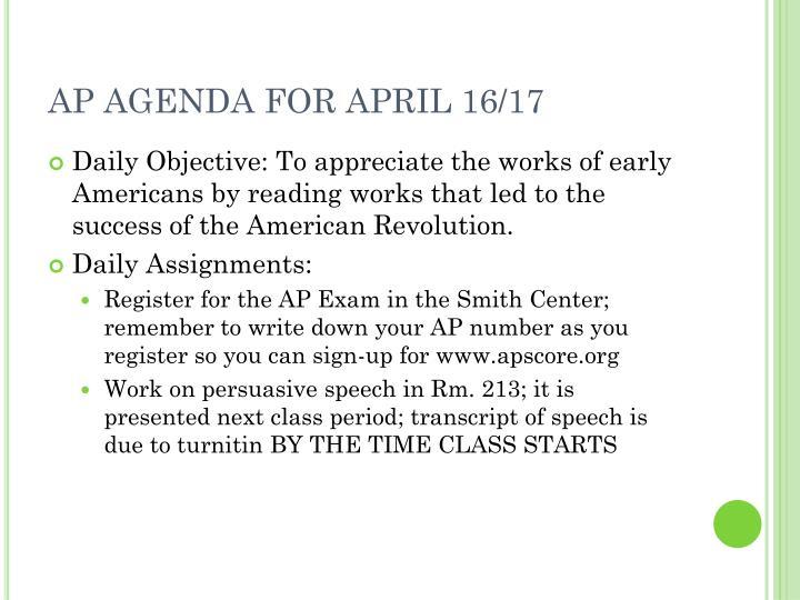 AP AGENDA FOR APRIL 16/17
