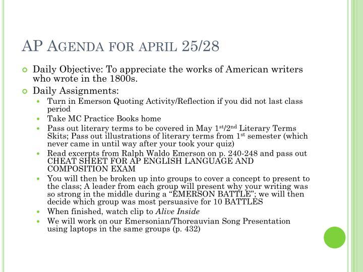 AP Agenda for