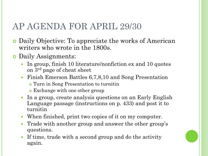 AP AGENDA FOR APRIL 29/30
