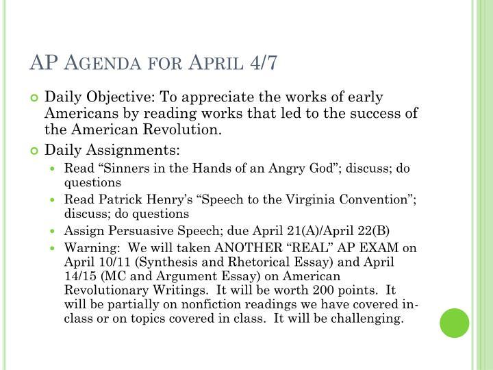 AP Agenda for April 4/7