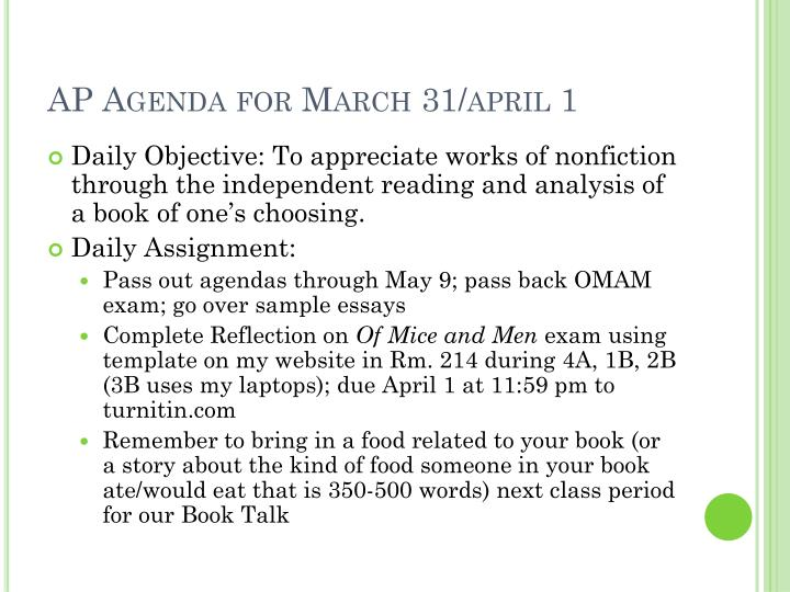 AP Agenda for March 31/