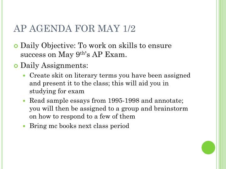 AP AGENDA FOR MAY 1/2