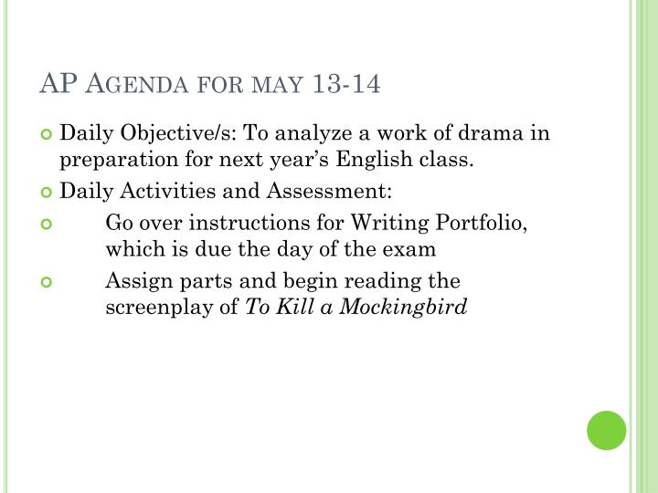 AP Agenda for may 13-14