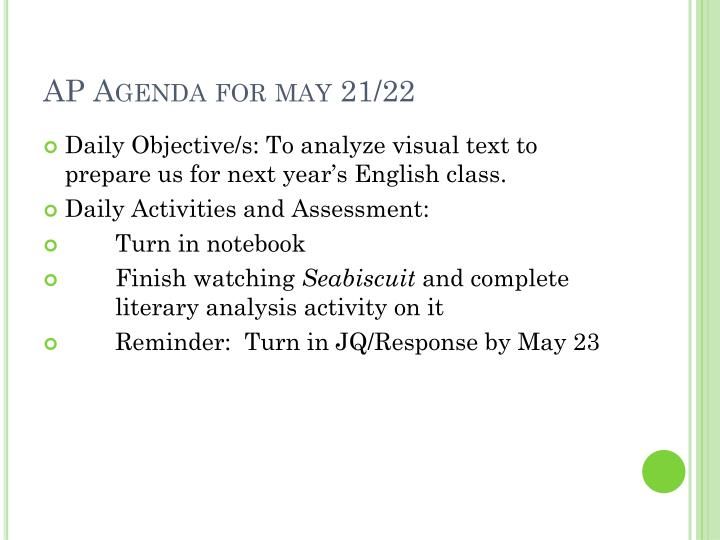 AP Agenda for may 21/22