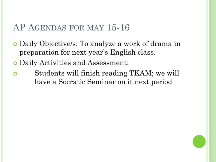 AP Agendas for may 15-16