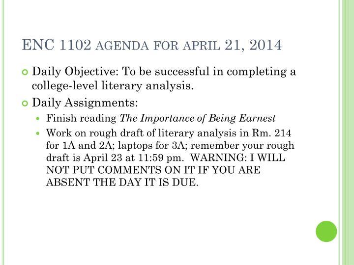ENC 1102 agenda for