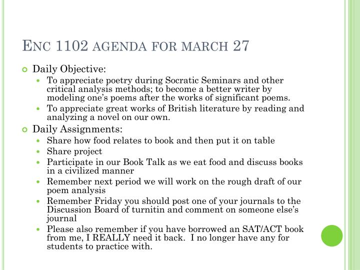 Enc 1102 agenda for march 27