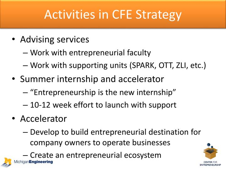Activities in CFE Strategy