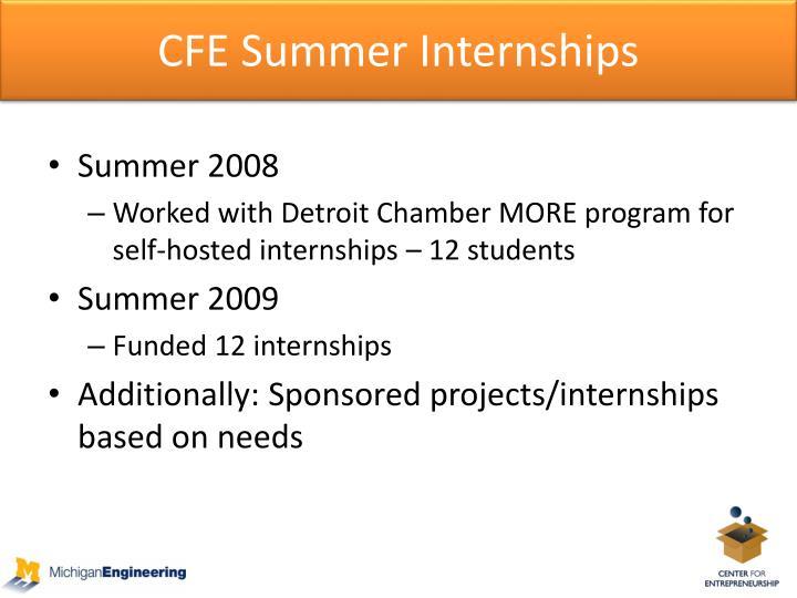 CFE Summer Internships
