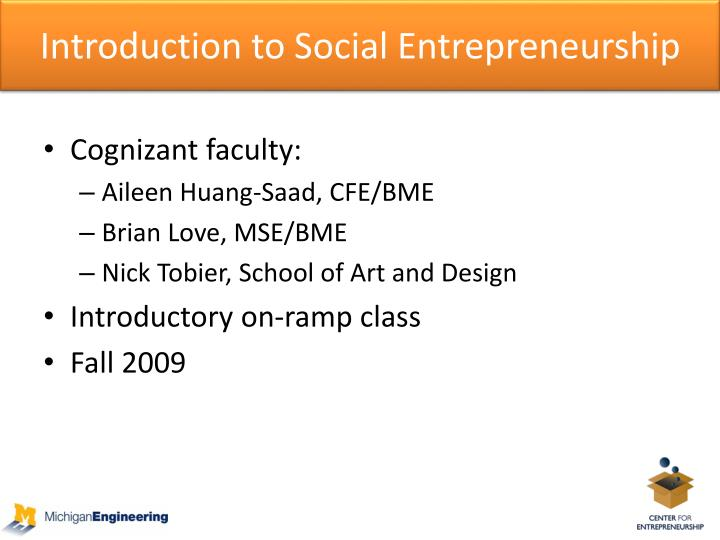 Introduction to Social Entrepreneurship