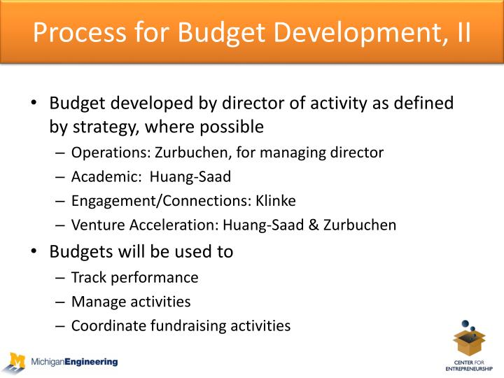 Process for Budget Development, II