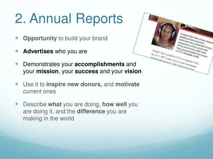 2. Annual Reports