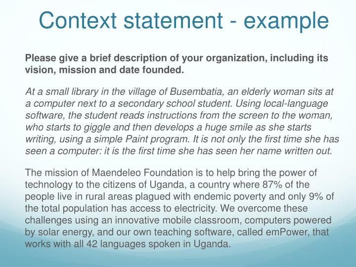 Context statement - example
