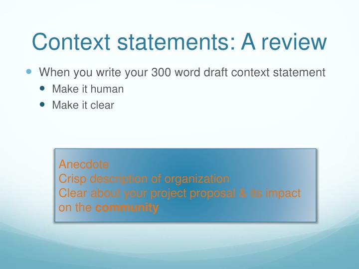 Context statements: A review