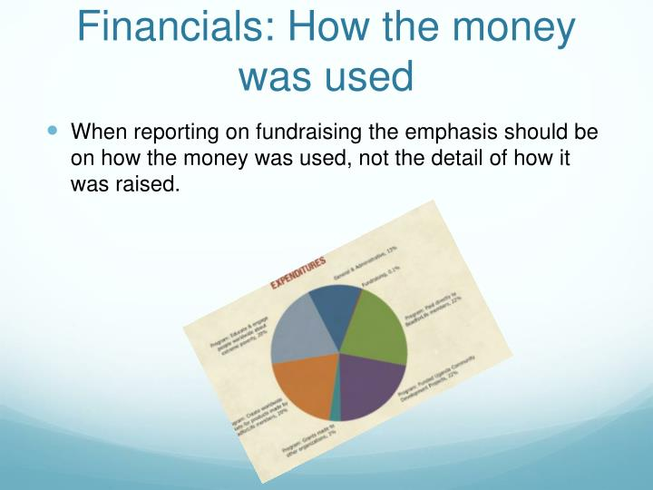 Financials: How the money was used